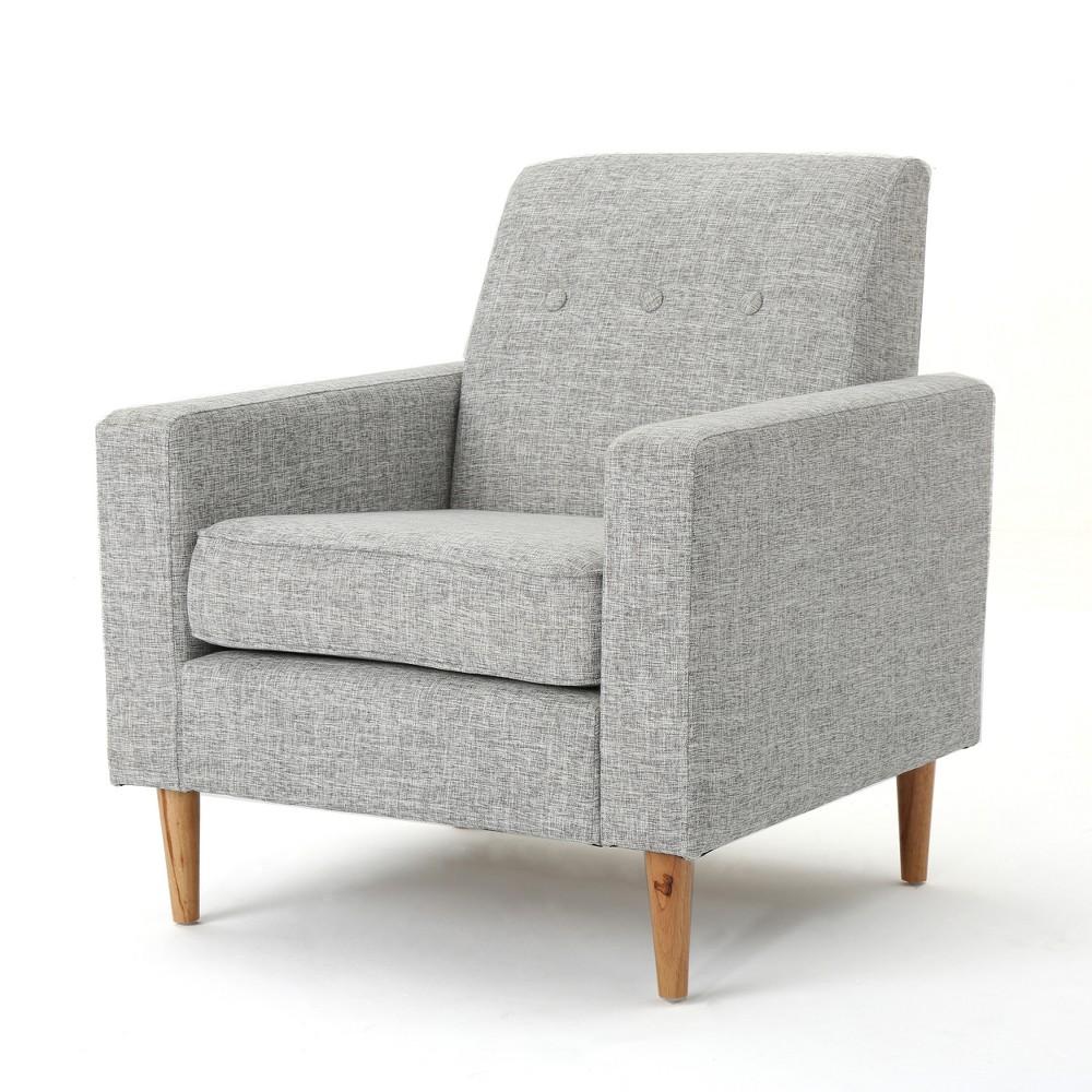 Sawyer Mid Century Modern Club Chair Light Gray Tweed Christopher Knight Home