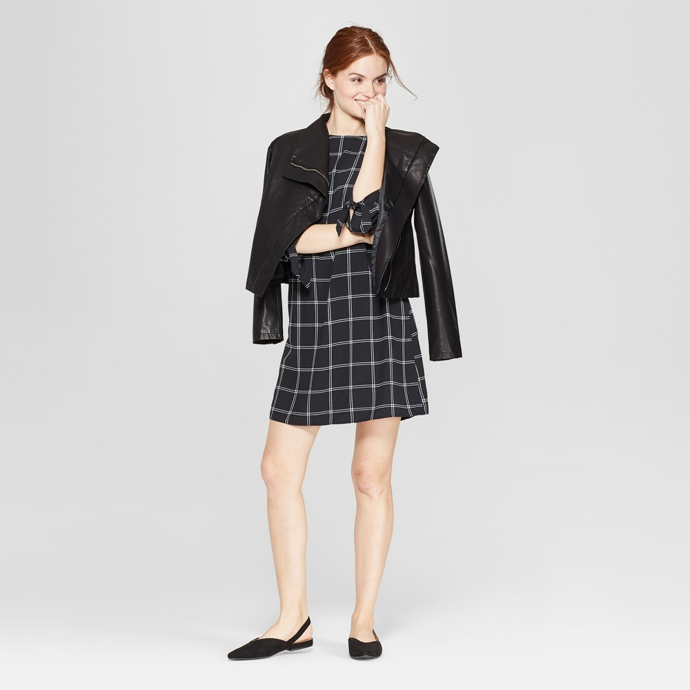 Women's Plaid 3/4 Sleeve Crepe Dress - A New Day Black/White L