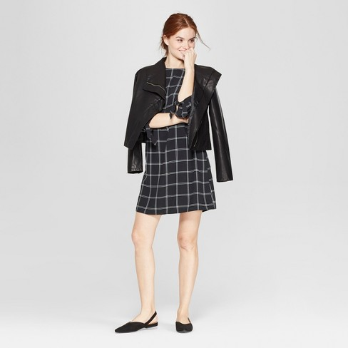 Women's Plaid 3/4 Sleeve Crepe Dress - A New Day™ - image 1 of 3
