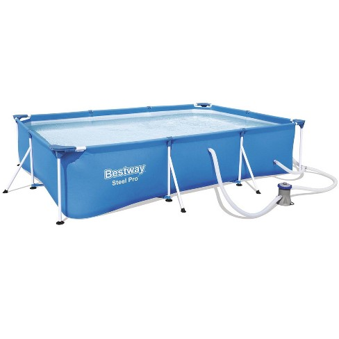 Bestway 56412E Steel Pro 9.8ft x 6.6ft x 26in Outdoor Rectangular Frame Above Ground Swimming Pool Set with 330 GPH Filter Pump and Repair Patch, Blue - image 1 of 4