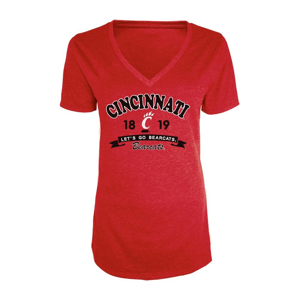 Cincinnati Bearcats Women's Short Sleeve Heathered V-Neck T-Shirt - M, Multicolored