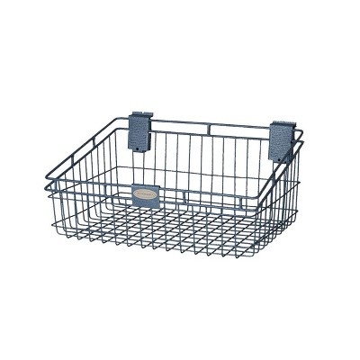 Suncast Storage Trends 12 Inch x 18 Inch Slatwall Mounted Wire Basket, Blue