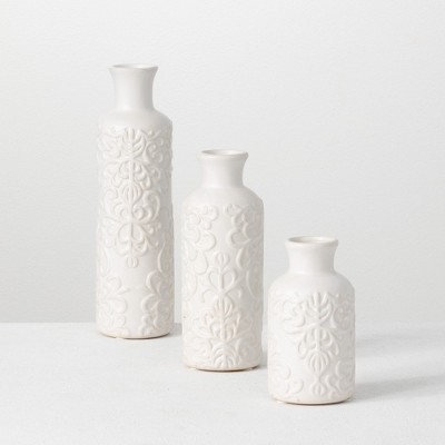 "Sullivans Set of 3 Ceramic Bud Vase 10""H, 7.5""H5.5""H White"