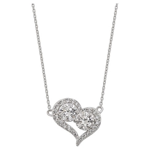 "Women's Pave Cubic Zirconia Heart Necklace in Sterling Silver - Silver/Clear (18"") - image 1 of 1"