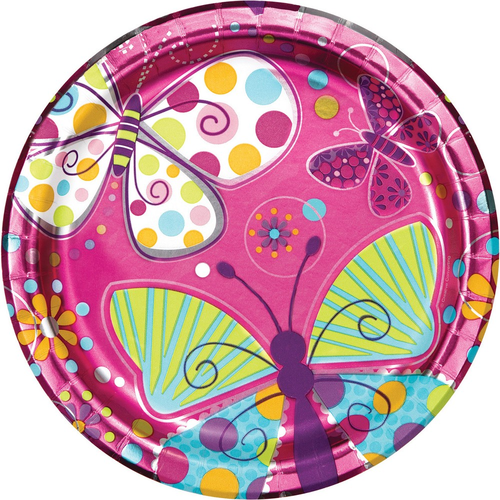 24ct Foil Butterfly Paper Plates Pink