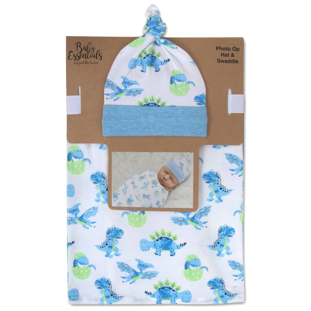 Image of Baby Essentials Dino Print Swaddle Blanket and Cap