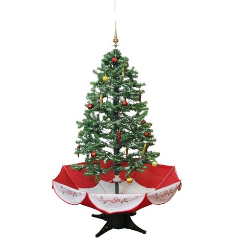 Christmas Base.Northlight 4 5 Prelit Artificial Christmas Tree Musical Snowing With Umbrella Base Blue Lights