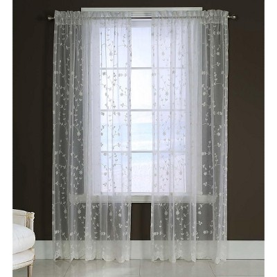 """Candlewicking Embroidered Sheer Curtain, 52""""W x 63""""L"""