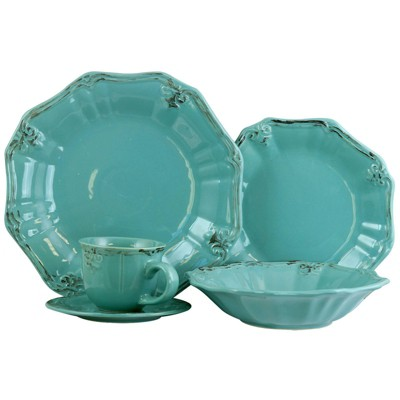 20pc Stoneware Antique Scallop Dinnerware Set Blue - Elama