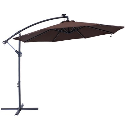Steel Offset Cantilever Solar Patio Umbrella 10' - Brown - Sunnydaze Decor