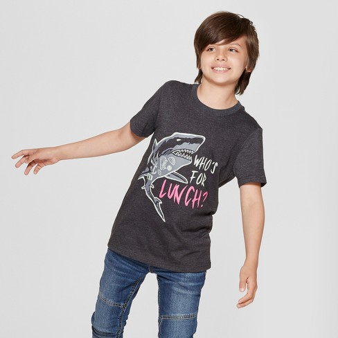 Boys' Short Sleeve Shark Graphic T-Shirt - Cat & Jack™ Black - image 1 of 3