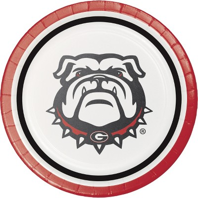 24ct Georgia Bulldogs Dessert Disposable Plates Red/Black