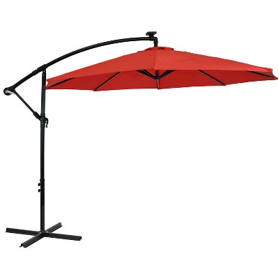 Sunnydaze Outdoor Steel Cantilever Offset Patio Umbrella with Solar LED Lights, Air Vent, Crank, and Base - 9' - Cherry