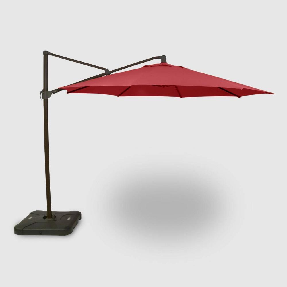 11' Offset Patio Umbrella Red - Black Pole - Threshold