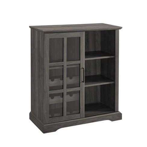 Sliding Gl Door Bar Cabinet Gray