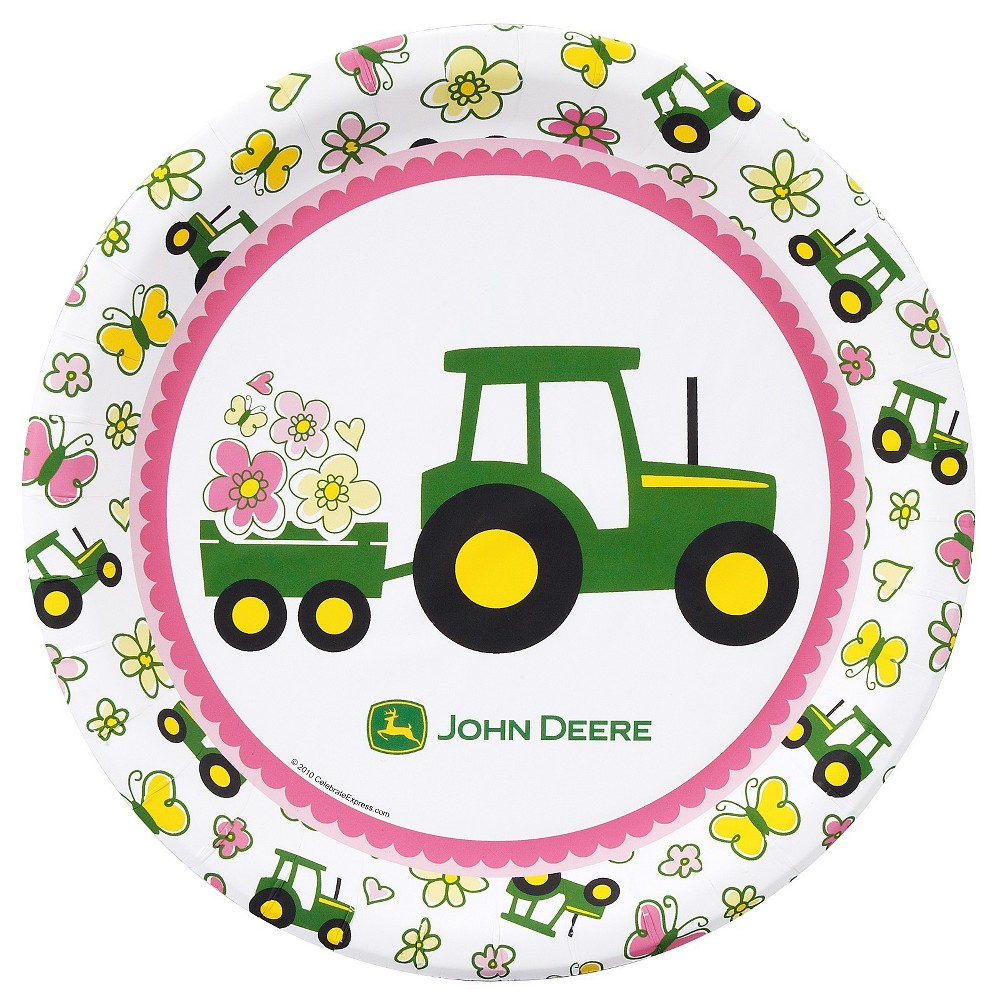 16ct BuySeasons John Deere Pink Dinner Plate, Multicolored