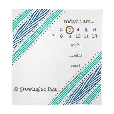 Honest Baby Organic Cotton Muslin Giftable Milestone Blanket - Teal Geometric