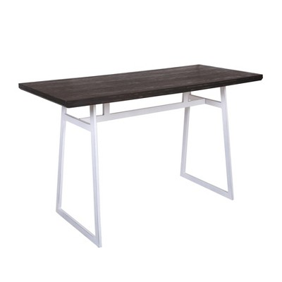 Geo Industrial Counter Height Dining Table Vintage White/Espresso - LumiSource