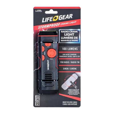 Life+Gear Stormproof Crank LED Flashlight With FM Radio/USB Port - Black/Red