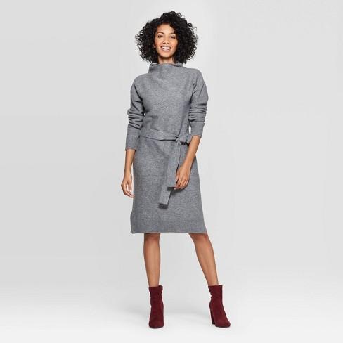 Women's Long Sleeve Mock Turtleneck Neck Sweater Dress - A New Day™ - image 1 of 3