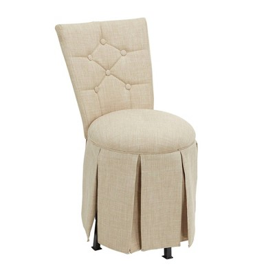 Smith Skirted Swivel Vanity Chair with Diamond Tufted Back Linen - Silverwood