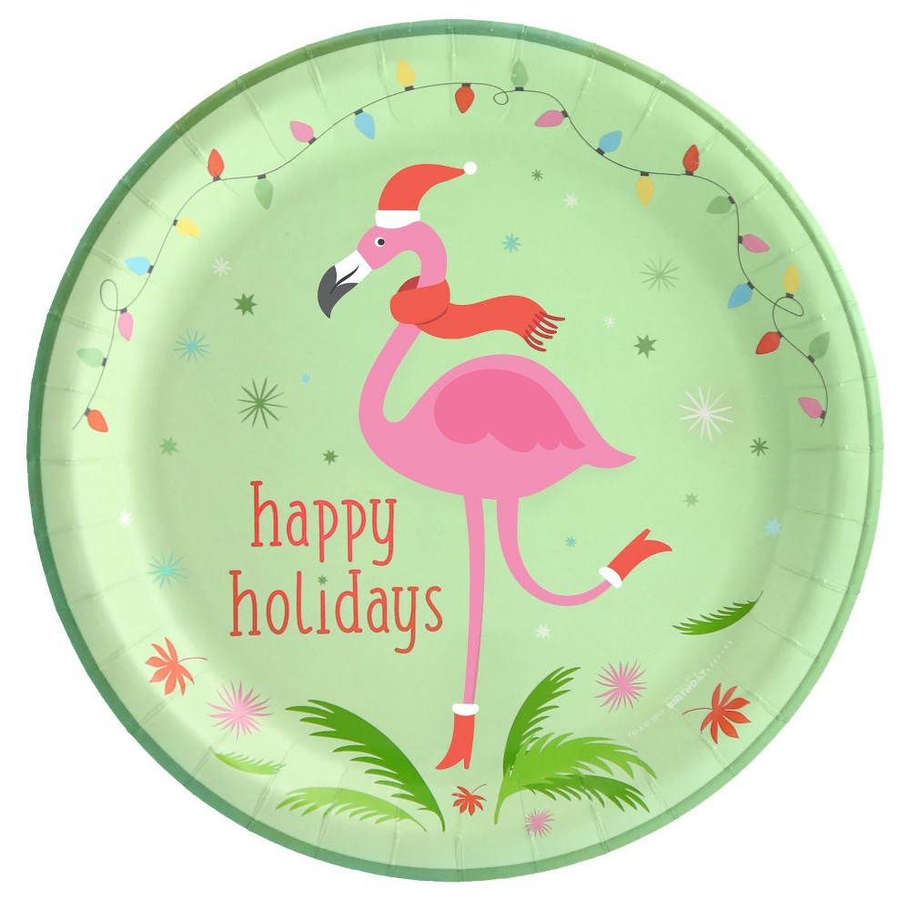 Image of 16ct BuySeasons Flamingo Cheer Dinner Plate, Multicolored