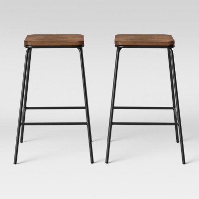 Set of 2 Rhodes Metal/Wood Barstool Black - Project 62™