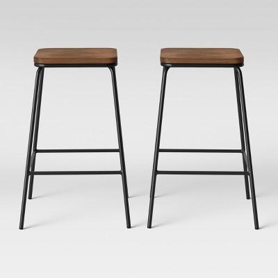 Set of 2 Rhodes Metal/Wood Barstool Black - Project 62™