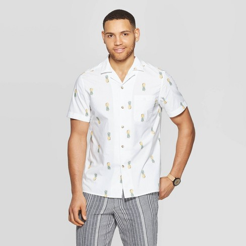 Men's Printed Short Sleeve Button-Down Shirt - Goodfellow & Co™ White - image 1 of 3