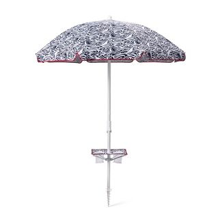 6 Rough Seas Beach Umbrella with Drink Holder - Navy/White - vineyard vines® for Target