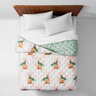 White Reversible Indo Peacock Quilt (Twin/Twin XL) - Opalhouse™
