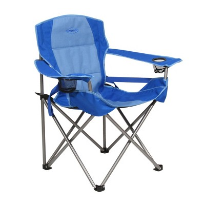 Kamp-Rite KAMPCC016 Outdoor Camping Folding Chair with Lumbar Support & Cupholders, 2 Tone Blue