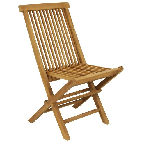 Sunnydaze Outdoor Solid Teak Wood with Light Stained Finish Hyannis Folding Dining Chair - Light Brown - image 1 of 4