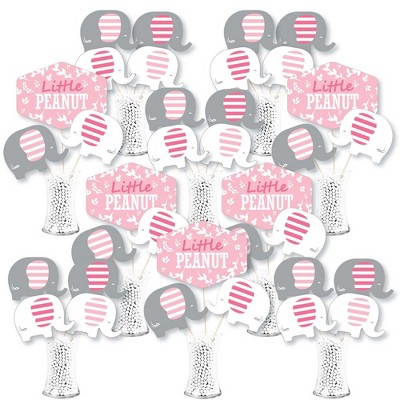 Big Dot of Happiness Pink Elephant - Girl Baby Shower or Birthday Party Centerpiece Sticks - Showstopper Table Toppers - 35 Pieces