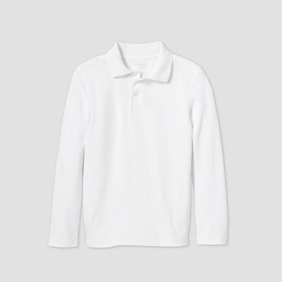 Boys' Long Sleeve Interlock Uniform Polo Shirt - Cat & Jack™ White