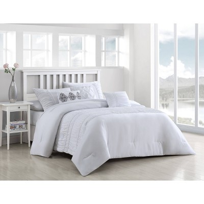 Queen 6pc Rouched Comforter Set White - Geneva Home Fashion