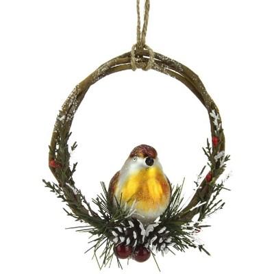 "Northlight 4"" Brown Bird Sitting in a Twig Wreath Christmas Ornament"