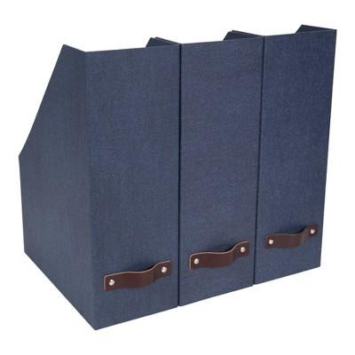 Set of 3 Estelle Canvas Magazine File Blue - Bigso Box of Sweden