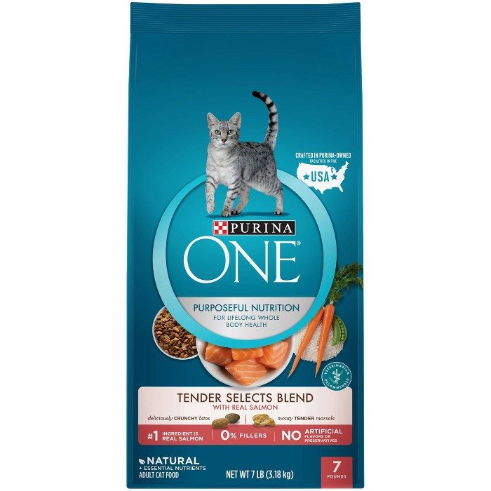 Purina ONE Tender Selects Blend With Real Salmon Adult Premium Dry Cat Food : Target