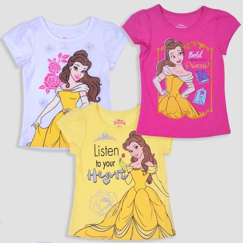 e8fa43e4708a Toddler Girls  3pk Disney Princess Belle Short Sleeve T-Shirt ...