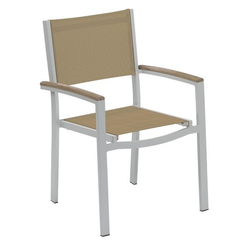 Travira Set of 4 Patio Dining Chairs - Cocoa Sling - Powder Coated Aluminum Frame - Tekwood Vintage Armcaps - Oxford Garden - image 1 of 1