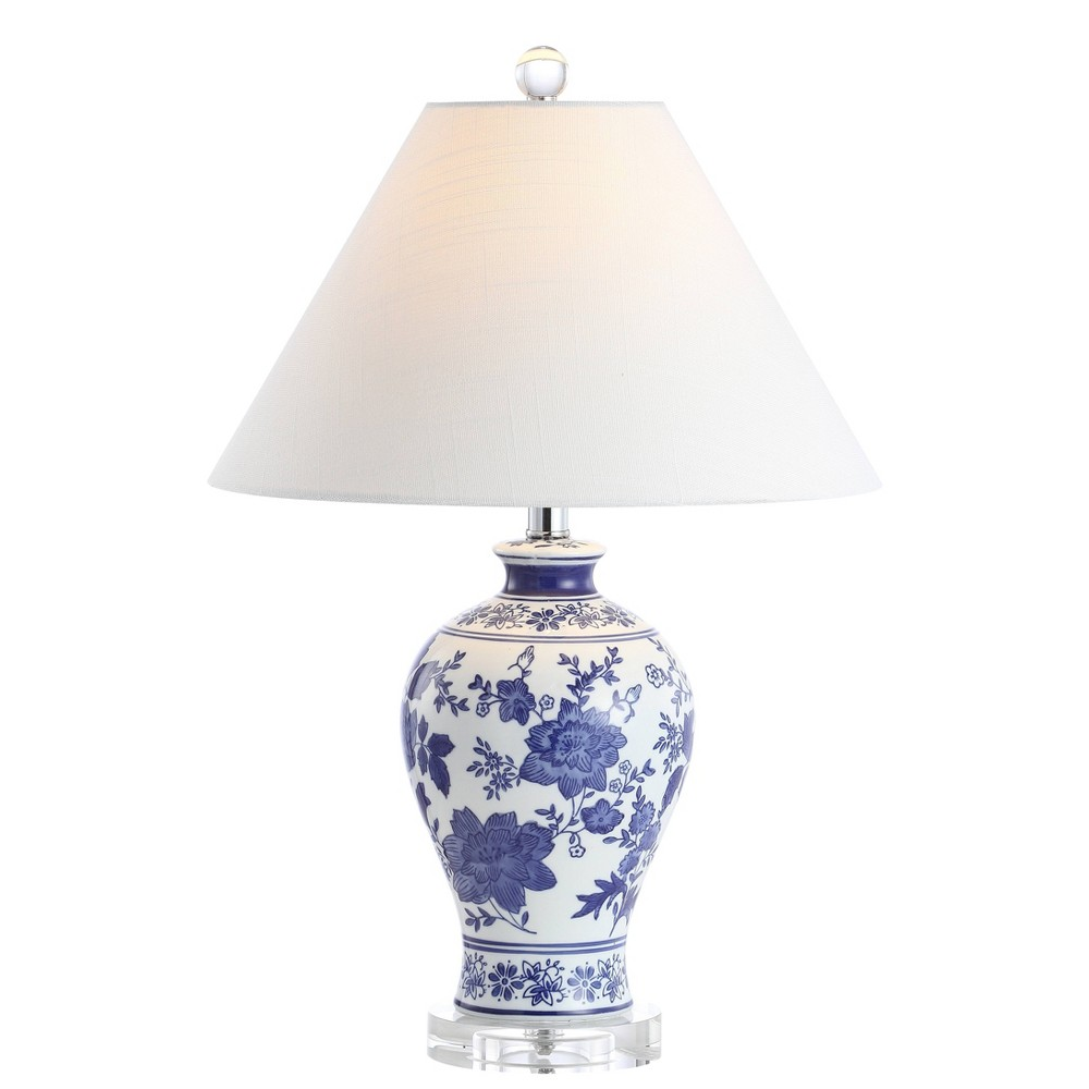 """21.5"""""""" Ceramic and Crystal Song Chinoiserie Floral LED Table Lamp (Includes Energy Efficient Light Bulb) Blue and White - Jonathan Y -  79783426"""