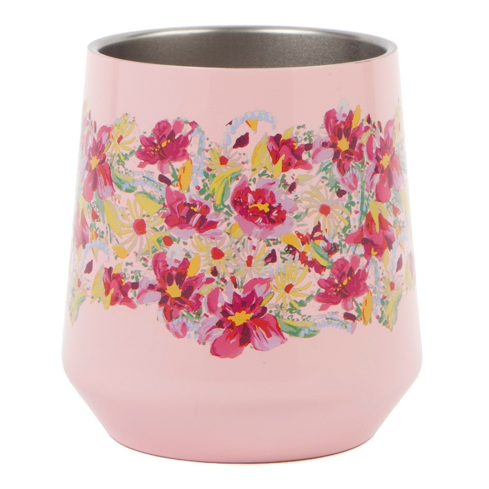 Haute Cup Stemless Wine Glass 12oz - Pink/Yellow Floral