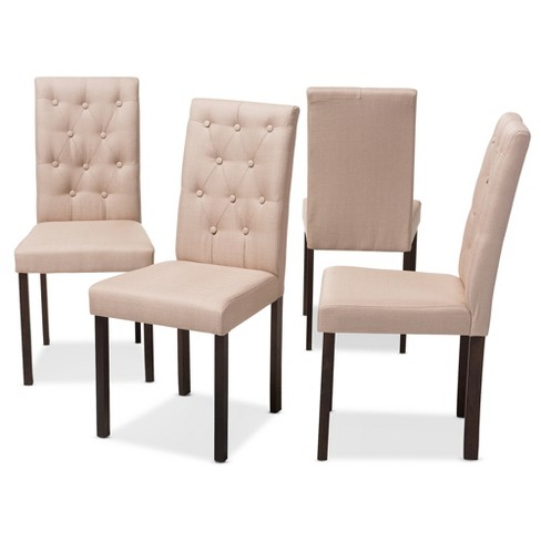 Set of 4 Gardner Modern and Contemporary Finished Fabric Upholstered Dining Chair - Beige, Dark Brown - Baxton Studio - image 1 of 4