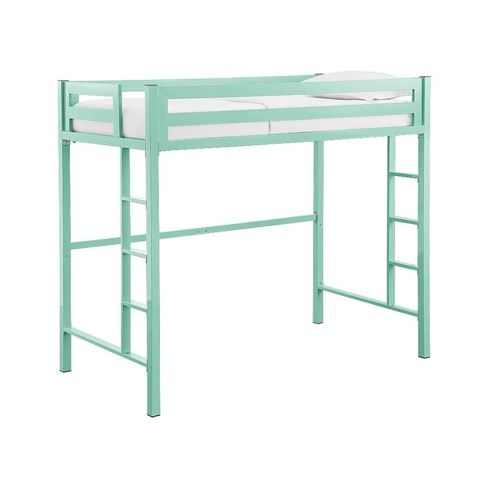 Premium Deluxe Twin Metal Loft Bed - Mint (Green) - Saracina Home