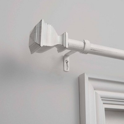 36 x72  Napoleon 1  Adjustable Curtain Rod and Coordinating Finial Set Distressed White - Exclusive Home