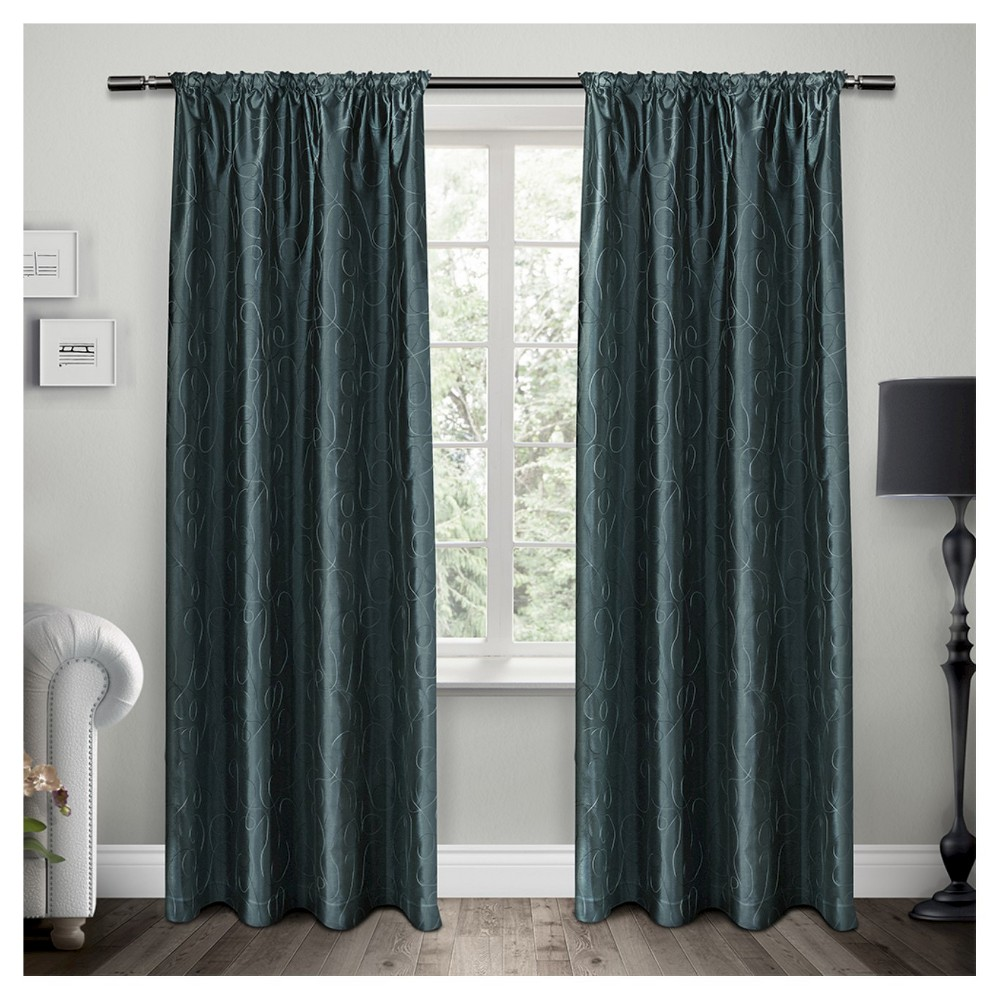 """Image of """"Set Of 2 Saturn Rod Pocket Window Curtain Panels Cobalt Blue (54""""""""X96"""""""") Exclusive Home"""""""