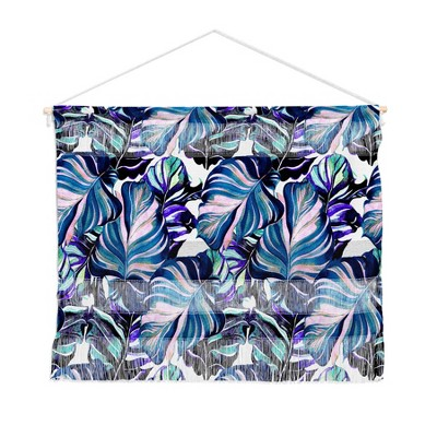 "22""x16"" Marta Barragan Camarasa Exotic Leaf Pattern Purple And Blue Wall Hanging Landscape Tapestries Blue - Deny Designs"