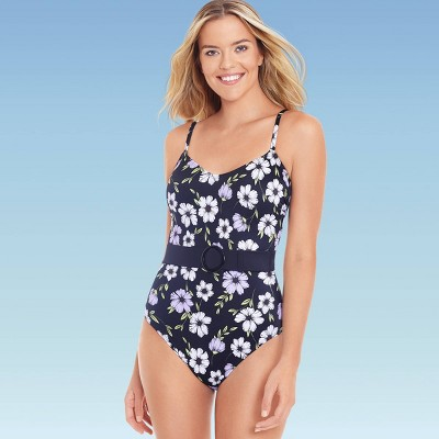 Women's Slimming Control Belted One Piece Swimsuit - Beach Betty by Miracle Brands Black/Purple