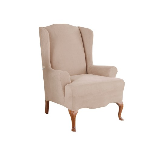Swell Stretch Suede Wing Chair Slipcover Taupe Sure Fit Machost Co Dining Chair Design Ideas Machostcouk